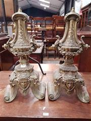 Sale 8917 - Lot 1092 - Pair of Brass Fire Dogs, in the Louis XVI Style, of urn form with wreaths (one missing iron support)