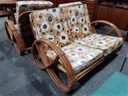 Sale 8930 - Lot 1024 - Vintage Cane 3 Piece Pretzel Lounge Suite incl. Pair of Armchairs & Two Seater