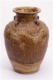 Sale 9015C - Lot 720 - Earthenware dragon themed vase with lugs (H35cm)