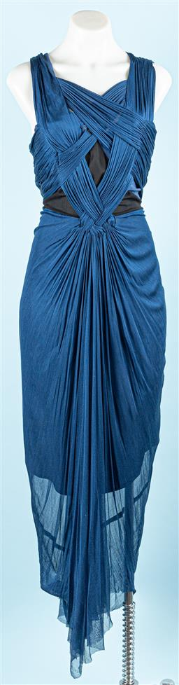Sale 9091F - Lot 45 - A WILLOW BLUE AND BLACK WIGGLE MAXI DRESS; sheer overlay plaited feature to front and back, silver tone exposed zipper. size 12