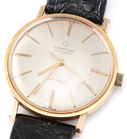 Sale 9149 - Lot 387 - A VINTAGE CERTINA STAINLESS STEEL AUTOMATIC WRISTWATCH; sunburst champagne dial, applied baton markers, center seconds, 21 jewel cal...