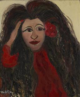 Sale 9161A - Lot 5006 - PHYLLIS STONE (1905 - 2001) - Tahitian Girl 44.5 x 37 cm (frame: 57 x 50 x 5 cm)
