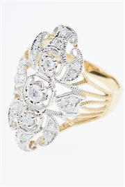 Sale 8414J - Lot 364 - AN EDWARDIAN STYLE 18CT GOLD DIAMOND RING; rhodium plated cannetille style frame claw set with three central graduated round brillia...