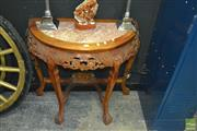 Sale 8337 - Lot 1010 - Timber Marble Top Console Table