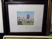 Sale 8407T - Lot 2042 - S Konishi (XX) - Pagoda and Cherry Blossoms 15 x 18cm