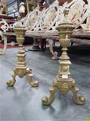 Sale 8576 - Lot 1051 - Pair of Brass Fire Dogs, of urn form & with outswept feet
