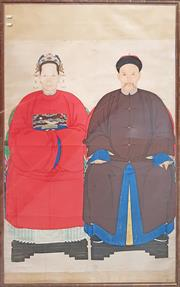 Sale 8662 - Lot 54 - Framed Chinese Ancestor Portraits