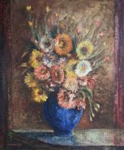Sale 8663 - Lot 2015 - S A Hamilton - Still Life - Flowers, oil on board, 84 x 72cm, signed lower left