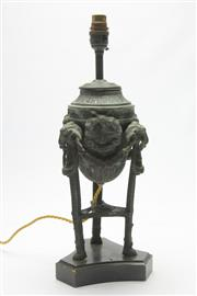 Sale 8673 - Lot 56 - Bronze Lamp With Rope And Ring Motif