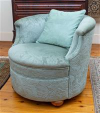 Sale 8735 - Lot 17 - A vintage tub chair upholstered in seafoam green leaf patterned brocade on ball feet with castors including similar cushion, Height...