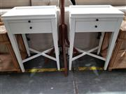 Sale 8740 - Lot 1041 - Pair of White Timber Saskia Bedsides with Reading Slide