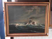 Sale 8789 - Lot 2062 - W R Matthewson - Old steamer in choppy seas, oil on board (AF), 55 x 70cm, signed lower left