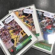 Sale 8863S - Lot 54 - Three Signed Cricket Cards, Shane Warne, Steve Waugh, Merve Hughes, in plastic frames.