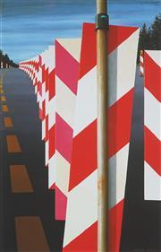 Sale 8896A - Lot 5053 - Jeffrey Smart (1921 - 2013) - Autobahn in the Black Forest II, 1979 - 1980 104.4 x 70 cm