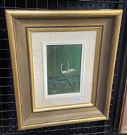 Sale 9004 - Lot 2038 - Clarrie Cox  Egret Study No.2,oil on board, frame: 20 x 31 cm, signed lower left