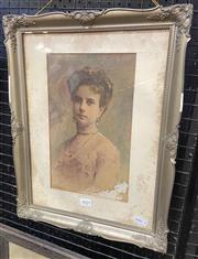 Sale 9011 - Lot 2025 - Ferenc Krutsay,Edwardian Portrait, watercolour and pencil, frame: 53.5 x  33 cm, signed lower left