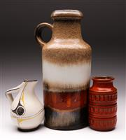 Sale 9078 - Lot 153 - A Large West German Vase (H 36cm) Together with A Smaller Example (H 16cm) and Small Jug (H 15cm)