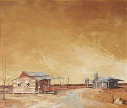 Sale 9096 - Lot 579 - Ric Elliot (1933 - 1995) Outback Town oil on board 59.5 x 69.5 cm (frame: 79 x 89 x 4 cm) signed lower left