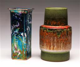 Sale 9114 - Lot 78 - A Swedish Tilsmans potted vase (hairline crack) (H:23cm) together with A lustre finish example (H:22cm)