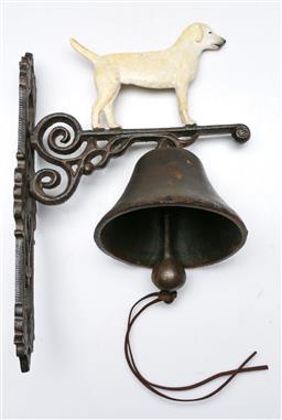Sale 9156 - Lot 54 - Cast iron Labrador themed door bell (L:35cm)