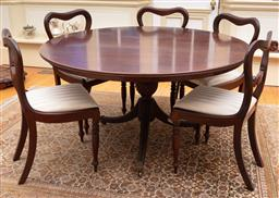 Sale 9190H - Lot 72 - An antique centre pedestal mahogany round table C: 1845, raised on a graduated and bulbous twist stem supported by 3 sabre legs with...