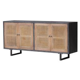 Sale 9250T - Lot 40 - An oak sideboard with rattan doors & iron feet and handles. Height 85cm x Width 180cm x Depth 45cm