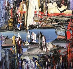 Sale 9249A - Lot 5029 - PALLA JEROFF (1957 - ) Abstract Landscape oil on canvas 30 x 31 cm signed
