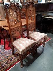 Sale 8697 - Lot 1074 - Pair of High Back Dining Chairs