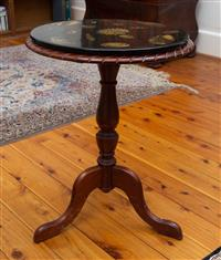 Sale 8735 - Lot 18 - A timber tripod table having the addition of a removable Bucciarelli Milano mid century conchiglie patterned removable top, H x 55cm...