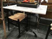 Sale 8787 - Lot 1072 - Waterproofed Square Marble Top Table on Tri-Leg Iron Base (H: 76cm W: 70cm)