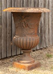 Sale 8871H - Lot 56 - A pair of large cast iron urns, height 95cm
