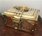 Sale 8878T - Lot 25 - Antique Brass Indian Vettila Chellam Betel Nut Box  With internal hinged compartment  Dimensions - 19cm x 13cm x 9.5cm