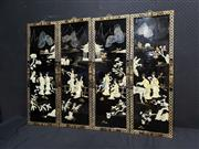 Sale 9051 - Lot 1014 - Set of Four hand-painted Chinese Lacquer Panels inlaid with Mother of Pearls depicting Maidens in Mountainscape (92 x 31cm, each )