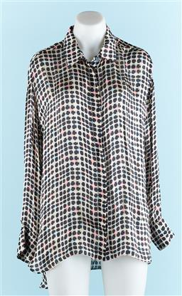 Sale 9091F - Lot 93 - A SCANLAN & THEODORE CHECKERED SILK BUTTON UP TOP; size 12