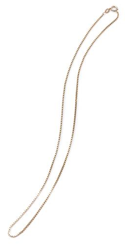 Sale 9169 - Lot 315 - A 9CT GOLD BOX LINK CHAIN; 1.3mm wide chain to bolt ring clasp, length 46cm, wt. 5.39g.