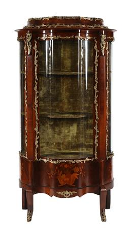 Sale 9245J - Lot 14 - A fine French 19th century rosewood single door shaped vitrine, with all over ormolou mounts and satinwood inlay, H 166cm x W 83cm.