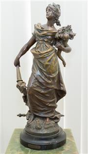 Sale 8338A - Lot 49 - An L & F Moreau antique spelter figure of Pax, H 60cm