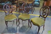 Sale 8390 - Lot 1093 - Good Set of Six Victorian Rosewood Balloon Back Chairs, the backs with intersecting circles, above green velvet seats & cabriole legs