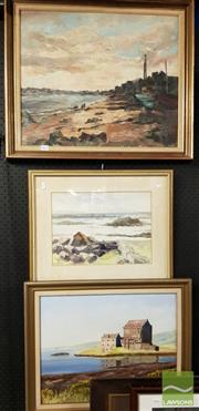 Sale 8478 - Lot 2055 - Framed Painting on Board Harbour Scene signed Kay Robson LR with 2 Framed Lake Scenes (3)