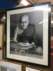 Sale 8726 - Lot 2044 - Contemporary Thai School - Portrait of a Monk, graphite on paper, 86 x 74cm