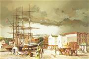 Sale 8781A - Lot 5080 - Francis Booth (1927 - 2002) - Sobraon and Annie Brown Circular Quay, 1870 61 x 91.5cm