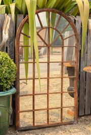 Sale 8871H - Lot 49 - A Large arch form metal framed rustic mirror, height 180 x 104cm