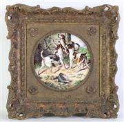 Sale 8935 - Lot 28 - Hand Painted Porcelain Plaque Featuring Beagles (30cm x 30cm)