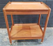 Sale 8984 - Lot 1074 - Vintage Teak Folding Tea Trolley with Removable Trays (H:70 x W:62 x D:41cm)