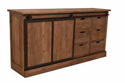 Sale 9250T - Lot 42 - A distinctive sliding track door design buffet made of solid old elm wood with dark iron hardware. Height 90cm x Width 180cm x Depth...