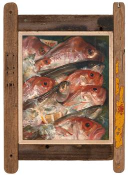 Sale 9252A - Lot 5001 - AUDREY ADDISON Fish on Ice oil on board 45 x 37 cm (frame: 74 x 52 x 3 cm) signed lower left, inscribed and titled verso